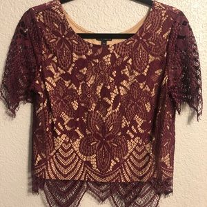 Express Maroon/burgundy lace short sleeve crop